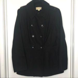 Micheal Kors Wool Pea Coat Black Sz M